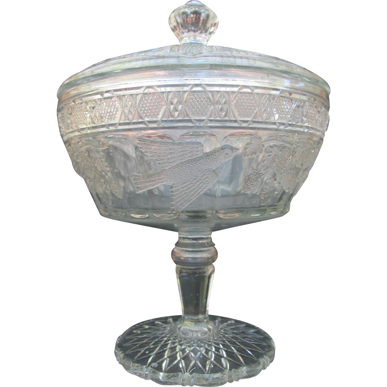 EAPG Antique Indiana Glass Birds Strawberries Compote Candy Dish