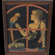 Art Deco Bradshaw Crandell Pin-Up with Parrot Print