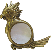 Vintage Brass Cockatoo Magnifying Glass from Italy