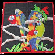 Vintage Ginnie Johansen Macaw Parrot Scarf