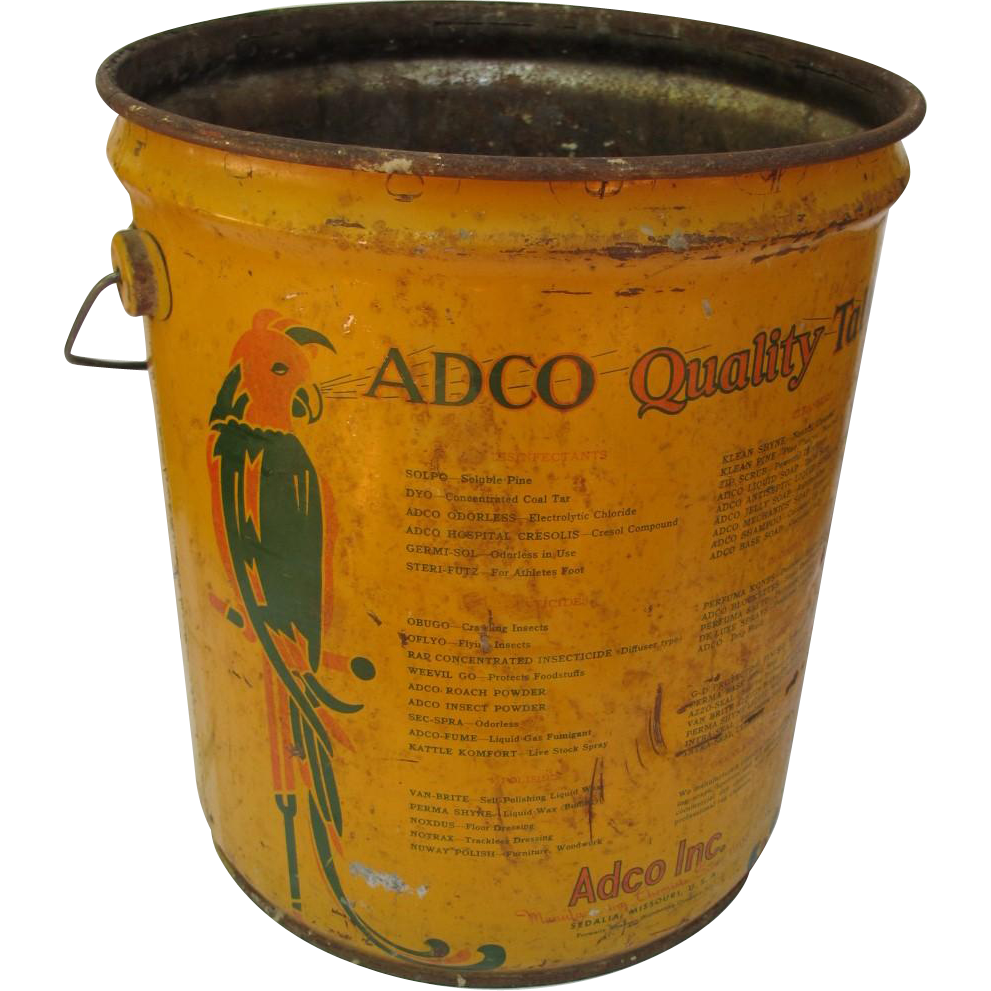 Art Deco Adco Five Gallon Can with Parrot