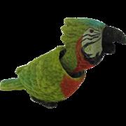 Vintage Flocked Macaw Parrot Nodder