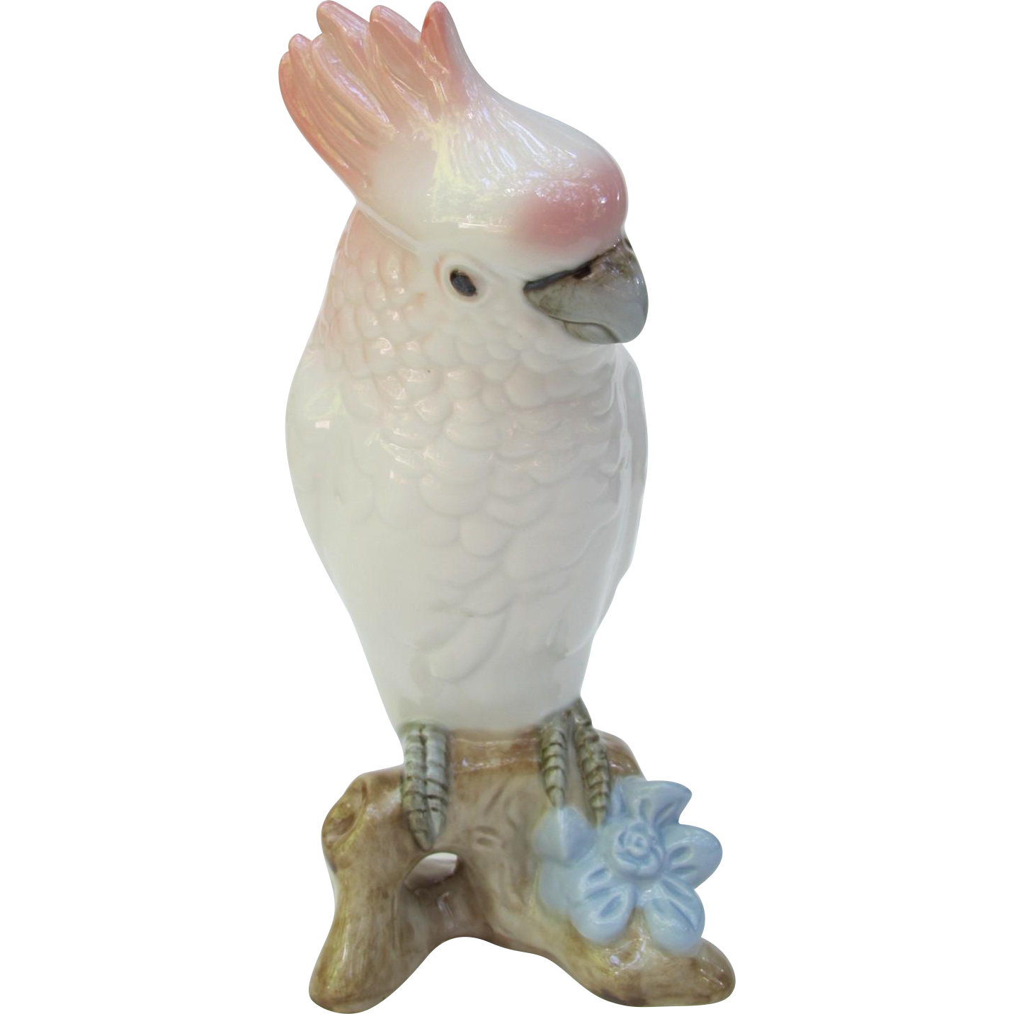 Royal Dux Pink and White Cockatoo Figurine