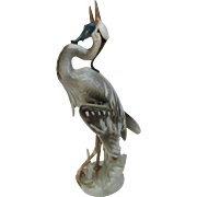 Royal Dux Heron with Fish Figurine