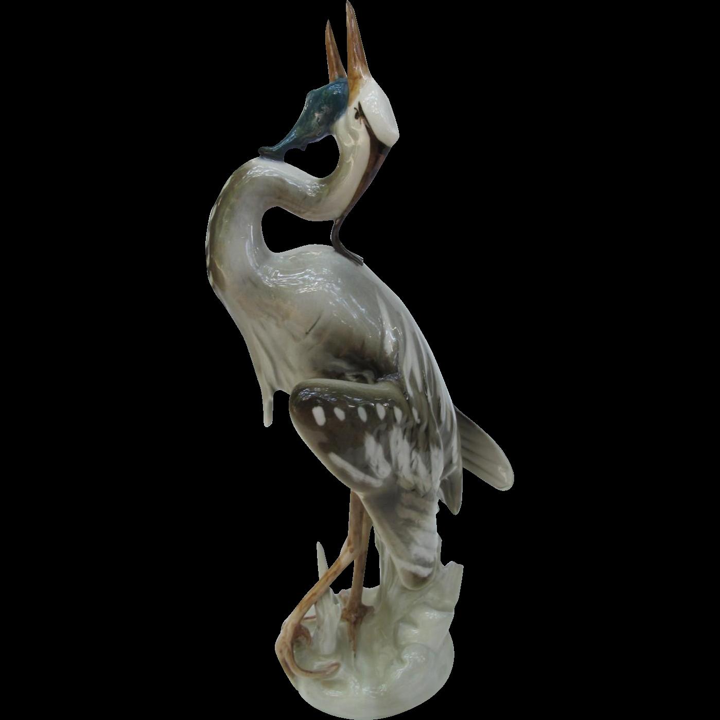 Royal Dux Heron with Fish Figurine