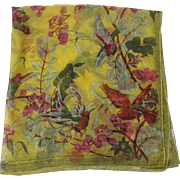 Vintage Yellow Silk Scarf with Exotic Birds Parrot