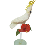 Vintage Franklin Mint Cockatoo Figurine on Glass Stand