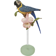 Vintage Franklin Mint Blue and Gold Macaw Parrot on Glass Stand