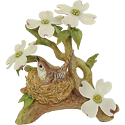 Vintage Cybis Wood Wren with Dogwood Figurine