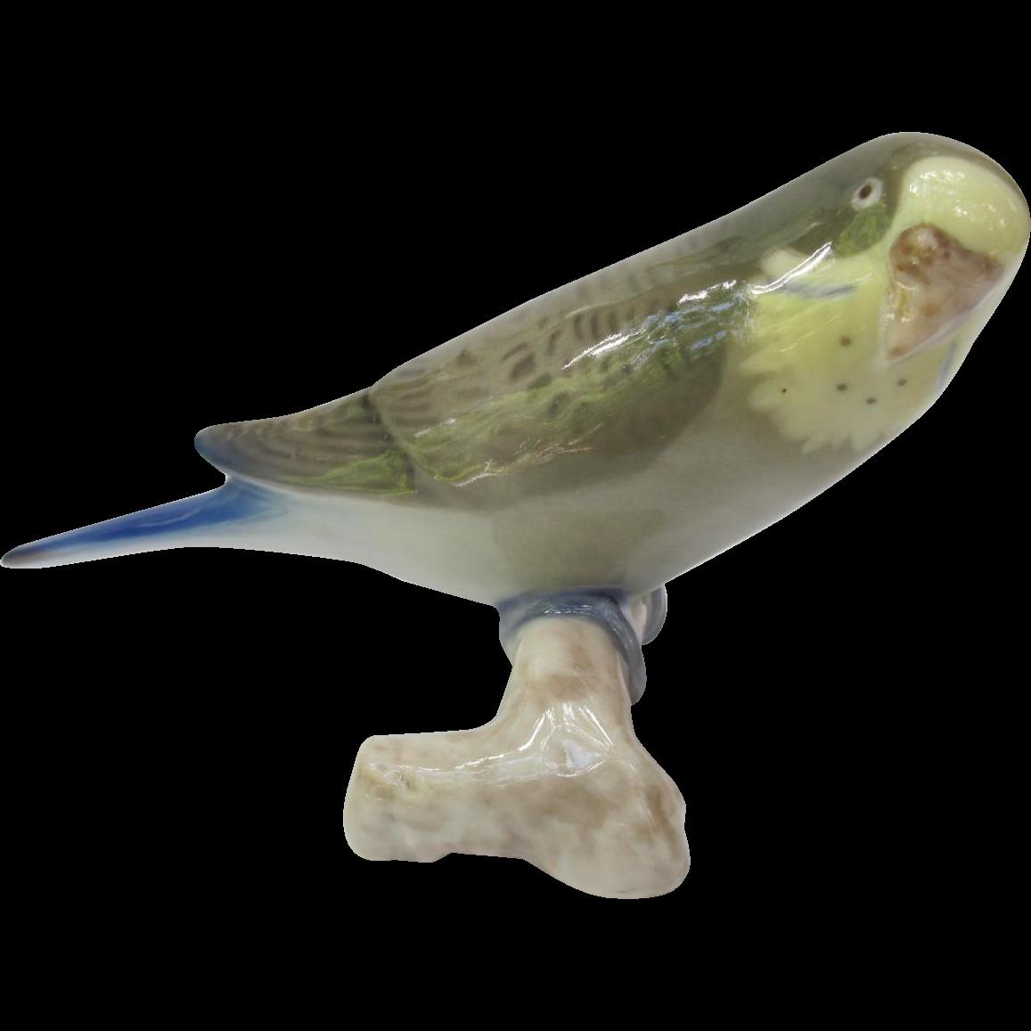 Vintage Bing and Grondahl Green Budgie Parakeet Figurine