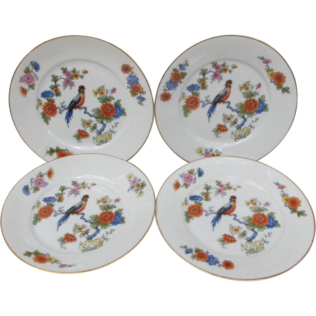 Vintage Bread Sandwich Dessert Bird of Paradise Plates from Germany Set of Four