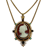 Rarest Signed Cameo Necklace Of Princess Victoria, Queen's Victoria Daughter, German Empress And Queen Of Prussia