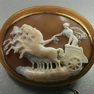 Rarest Victorian Shell Cameo Brooch of Apollo on Chariot