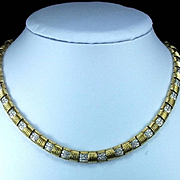 Rarest Roberto Coin Signed 18 karat Gold and Diamonds Necklace and Ring Set