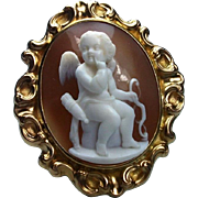 Museum Quality Rarest Victorian Shell Cameo of a Pensive Cupid