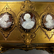 Rarest Victorian Casket with three Museum Quality Shell Cameos on Lid