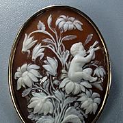 Museum Quality Victorian Rarest Shell Cameo Brooch of an Elf on Flowers Playing Pipes