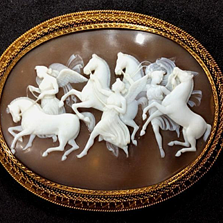 Museum Quality Rarest Victorian Shell Cameo of the Hours Leading the Horses of the Sun