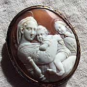 Exceptional Museum Quality Rarest Victorian Shell Cameo Brooch of the Madonna of the Chair