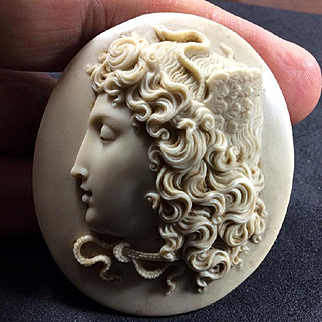 Wonderful Museum Quality Victorian Lava Cameo of Medusa