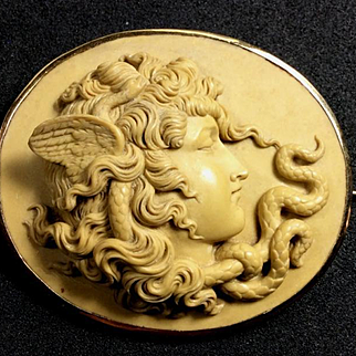 Exceptional Museum Quality Rarest Victorian Lava Cameo Brooch of Medusa