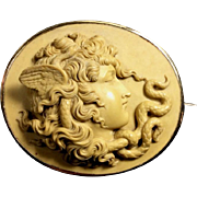 Exceptional Museum Quality Rarest Victorian Lava Cameo Brooch of Medusa