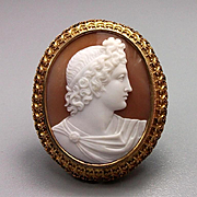 Wonderful Excellent Quality Victorian Shell Cameo Brooch of Apollo Belvedere