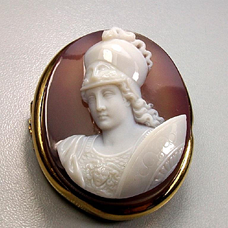 Outstanding Museum Quality Victorian Hard Stone Cameo Brooch of Goddess Athena