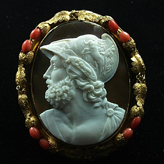 Museum Quality Rare Cameo Brooch of the Greek Hero Ajax