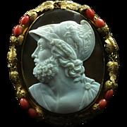 Museum Quality Rare Cameo Brooch of the Greek Hero Ajax