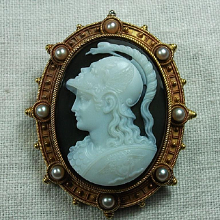 Museum Quality Victorian Cameo Brooch  of  Goddess Athena Signed Tignani