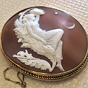 Rarest Museum Quality Victorian Cameo Brocch of Titania Signed by James Ronca