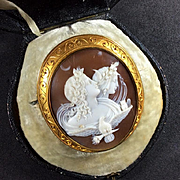 Stunning Victorian Shell Cameo Brooch the Allegory of the Day and Night Cased