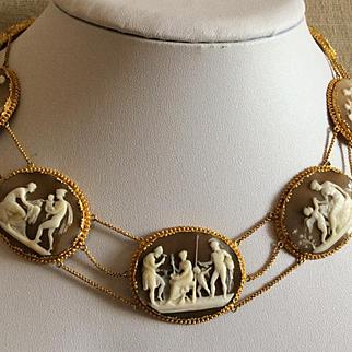 Rarest Museum Quality Victorian Cameos Set Necklace and Bracelet