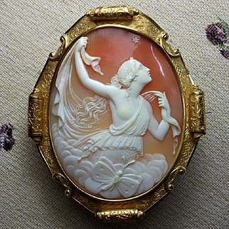 Gorgeous Museum Quality Victorian Shell Cameo Brooch of Psyche The Goddess of Soul