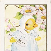 """Springtime with Skies of Blue"" - Dressed Baby Chick - Postcard"