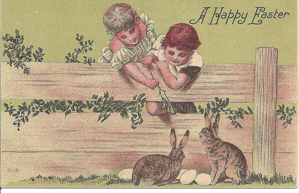 """A Happy Easter"" - Children & Rabbits"