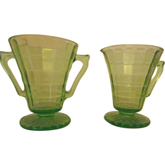 Uranium Glass Cream & Sugar