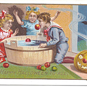 A Happy Hallowe'en To All - Children -Bobbing for Apples - Pumpkin
