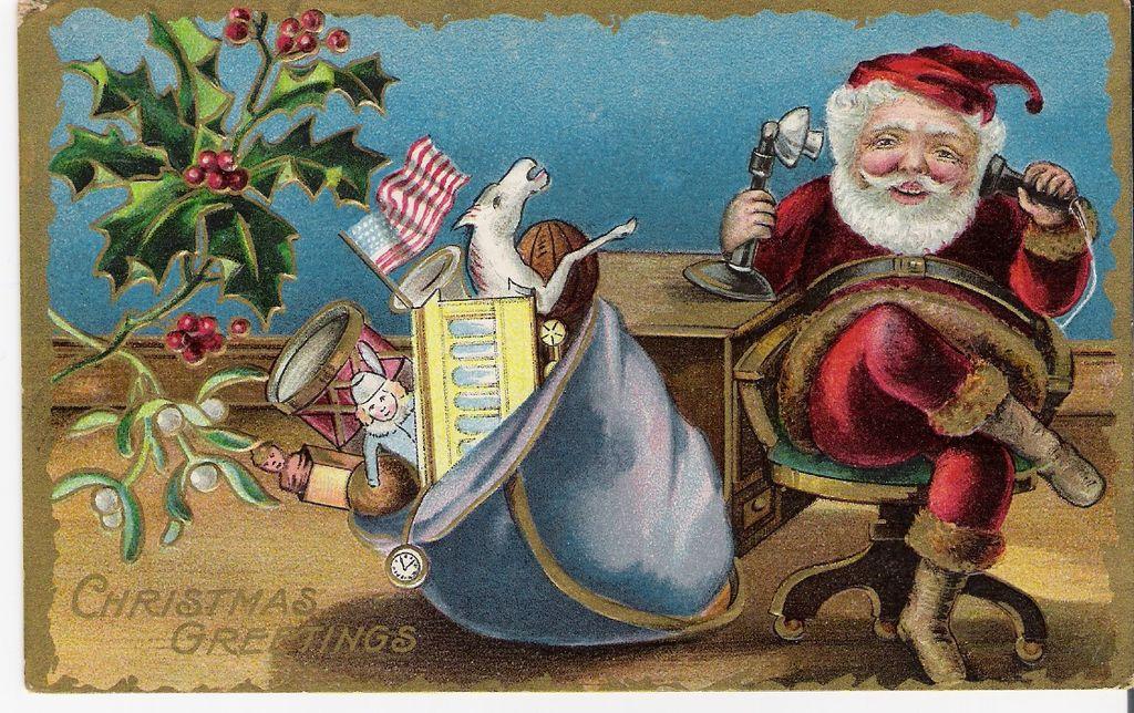 """Christmas Greetings"" - Santa Claus - American Flag"