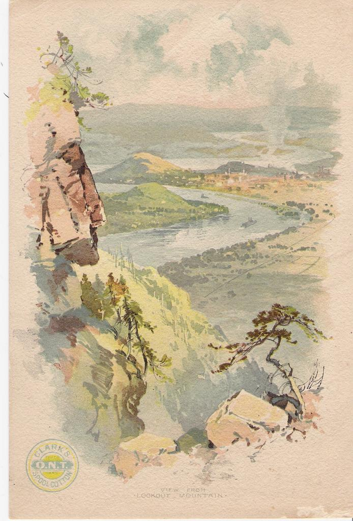 """""""View from Lookout Mountain - Clark's Thread - Advertising Trade Card"""