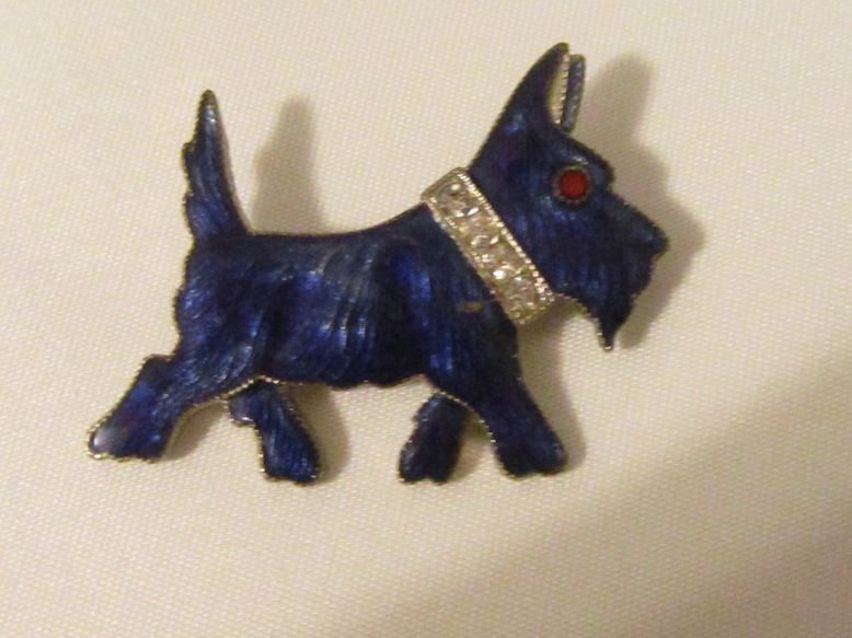 Vintage Enamel & Rhinestone Scotty Dog Pin