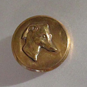 Antique Brass Button of Whippet/Greyhound Dog