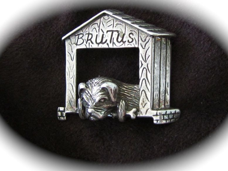 Vintage Sterling Silver Pug/Bulldog Brooch Pin