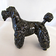 Lovely Vintage Composition Black Poodle Dog