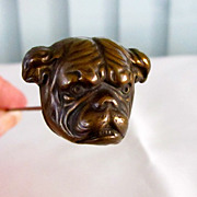 Handsome Large Antique Hatpin English Bulldog