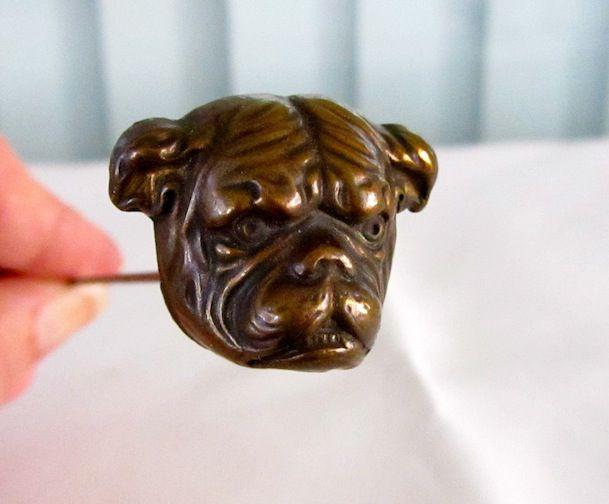 Handsome Large Antique Hatpin English Bulldog