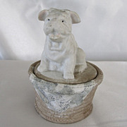 Vintage Bisque Box w/Bulldog Female
