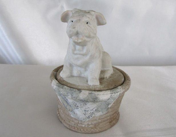 Vintage Bisque Box w/Bulldog Female