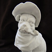 Antique Bisque Dressed Pug Dog w/Hat